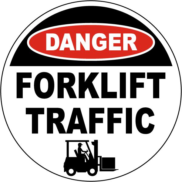Danger Forklift Traffic Floor Sign