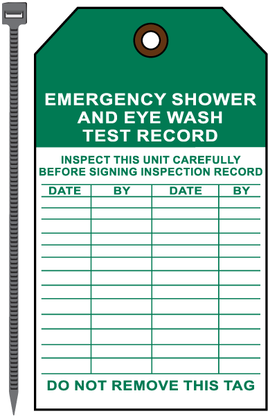 Shower / Eye Wash Test Record Tag