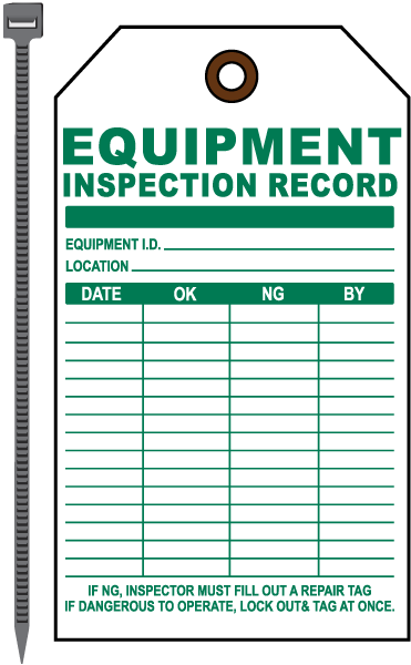 Equipment Inspection Tag