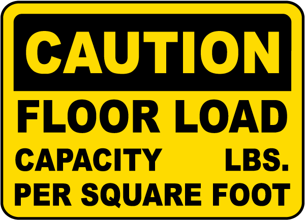 Caution Floor Load Capacity Sign