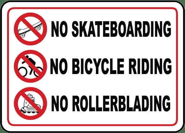 No Skateboarding No Rollerblading Sign