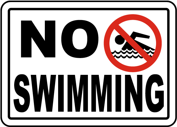 No Swimming Sign By F2511