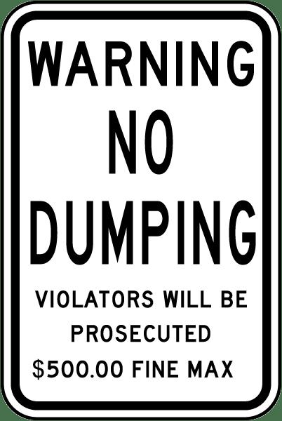 Warning No Dumping Sign