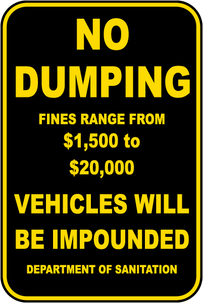 No Dumping Fines Range From Sign