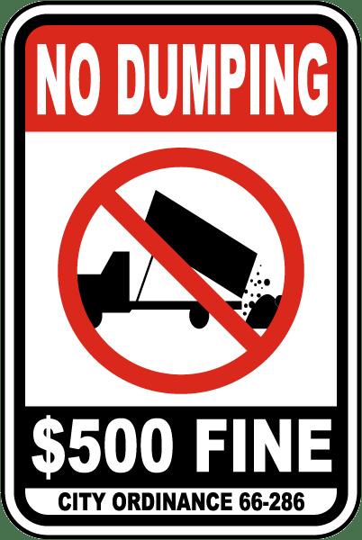 No Dumping $500 Fine Sign