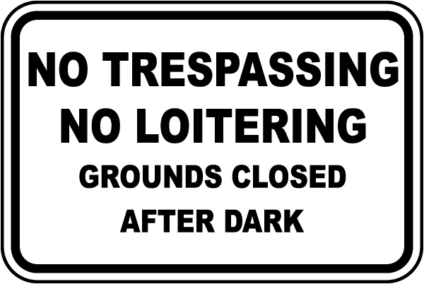 No Trespassing No Loitering Grounds Closed After Dark Sign