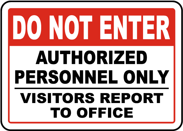 Visitors Report To Office Sign