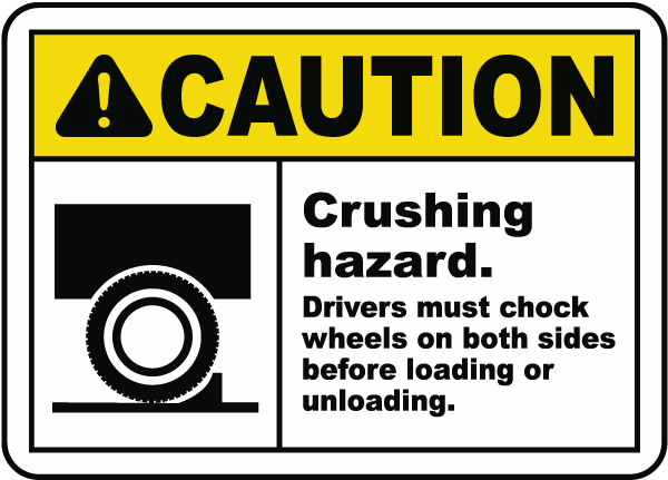 Caution Crushing hazard Drivers must chock wheels on both sides before loading or unloading Sign