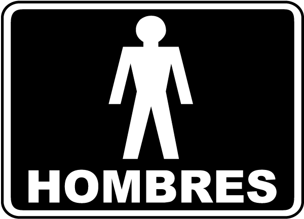 Spanish Men Restroom Sign