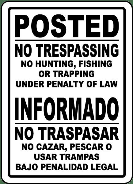 Bilingual Posted No Trespassing Sign