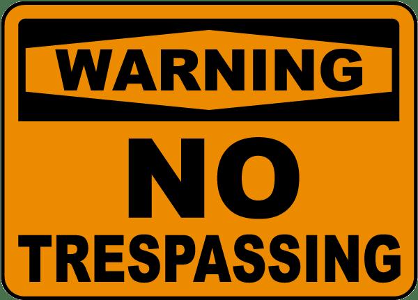 Warning No Trespassing Sign