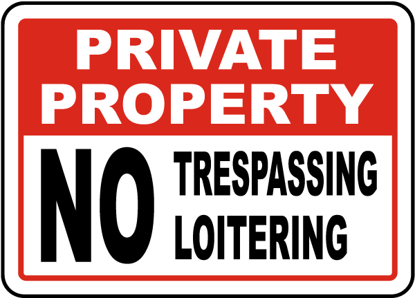 Private Property No Trespassing Loitering Sign