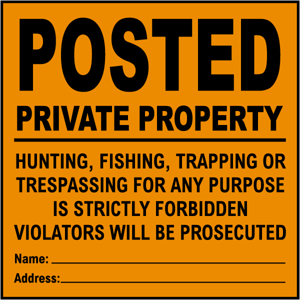 Posted Signs in yellow and orange