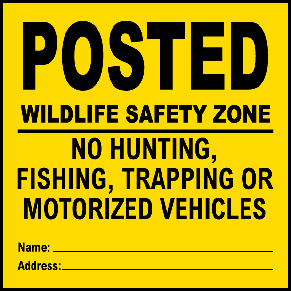 Yellow Posted Wild Life Safety Zone Sign