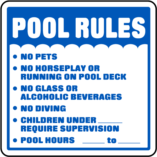 Pool rules sign f6910 by for Pool design rules