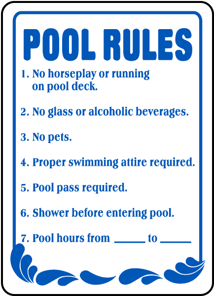 Pool rules sign f6918 by for Pool design rules