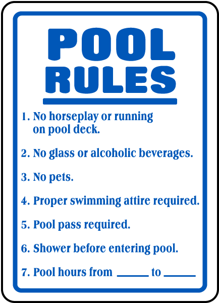 Pool rules sign f6919 for Pool design rules