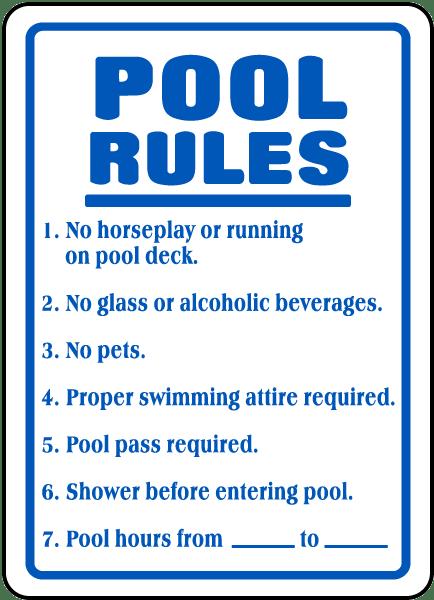 Pool Rules Sign F6919