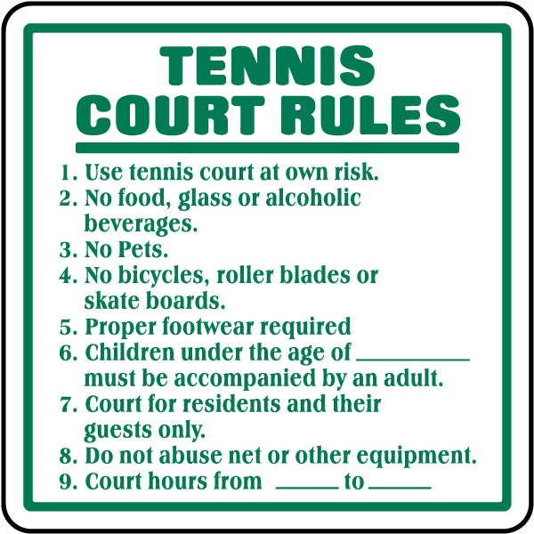 Tennis Court Rules Sign