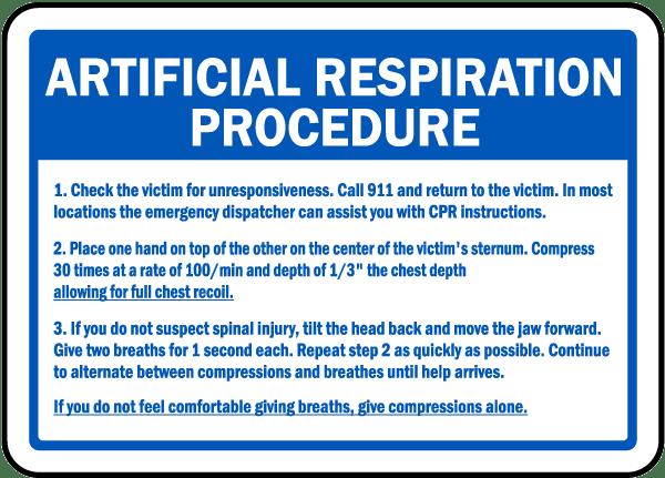 Artificial Respiration Procedure Sign