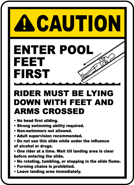 Pool Signs - Caution Enter Pool Feet First Rider Must Be Lying Down Pool Signs, F6962
