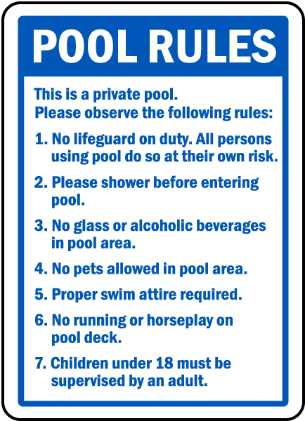 Pool rules sign f6965 by for Pool design rules