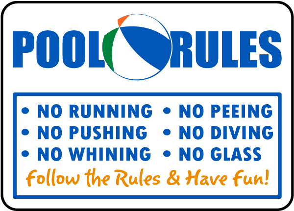 Pool Rules Sign