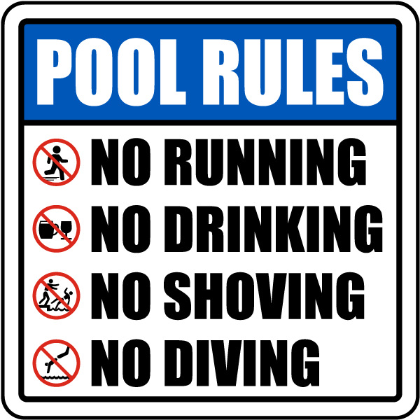Pool rules sign f6973 for Pool design rules