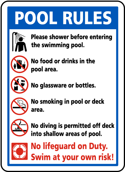 Pool rules sign f6976 for Pool design rules