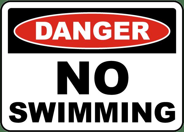 Danger No Swimming Sign