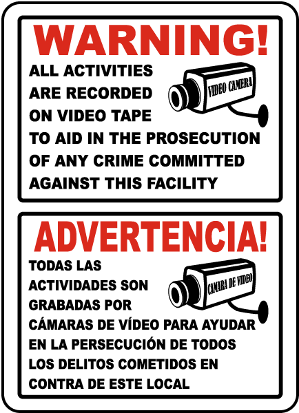 Bilingual Activities Recorded on Video Tape Sign