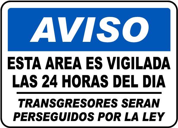 Spanish This Area Is Under 24 Hour CCTV Surveillance Sign