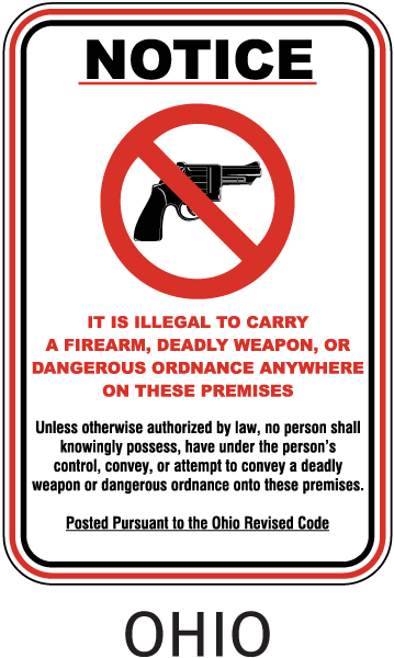 Ohio No Firearms on Premises Sign