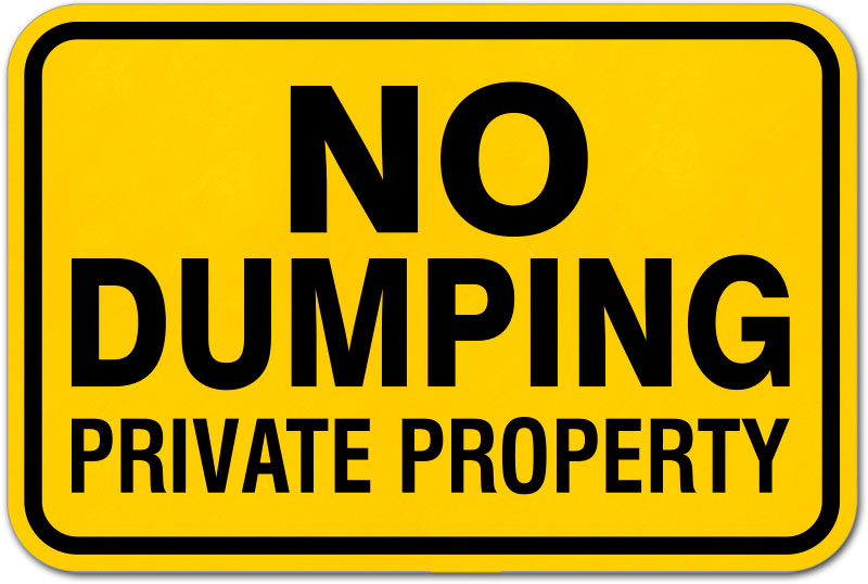 No Dumping Private Property Sign