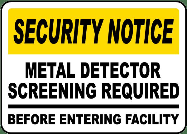 Metal Detector Screening Sign