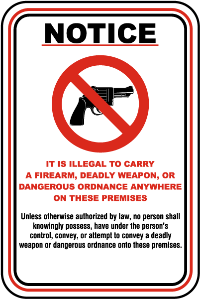 Illegal to Carry on Premises Sign