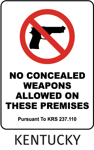Kentucky No Concealed Weapons Allowed Sign