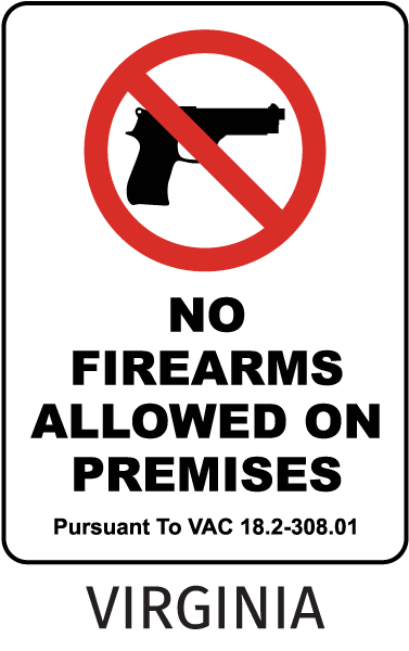 Virginia No Firearms Allowed Sign