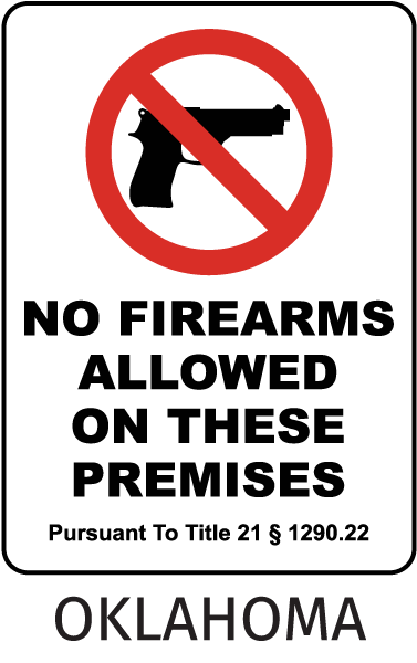 Oklahoma No Firearms Sign
