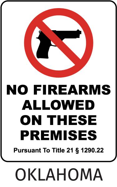 Oklahoma No Firearms Sign