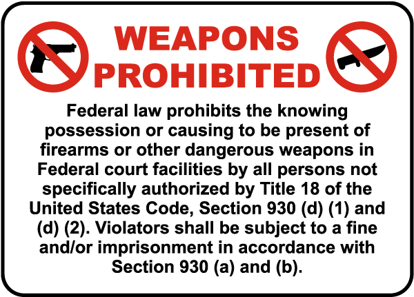 Weapons Prohibited Federal Law Prohibits The Knowing Possession Or Causing To Be Present Of Firearms Or Other Dangerous Weapons ... Sign