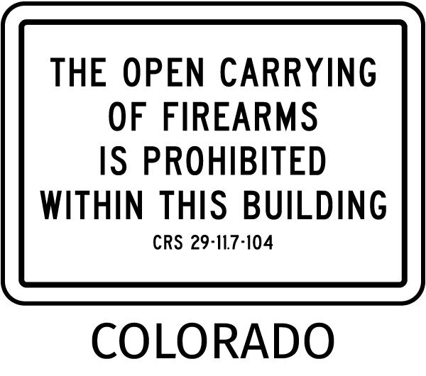 Colorado No Open Carry Sign