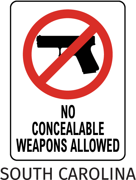 South Carolina No Weapons Sign