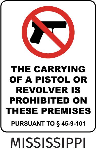 Mississippi Pistols Prohibited Sign