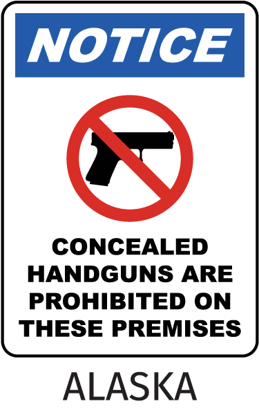 Alaska Handguns Prohibited Sign