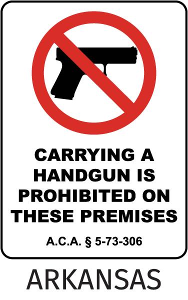 Arkansas Handguns Prohibited Sign