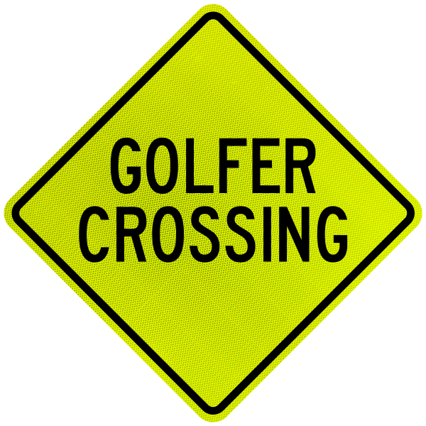 Golfer Crossing Sign