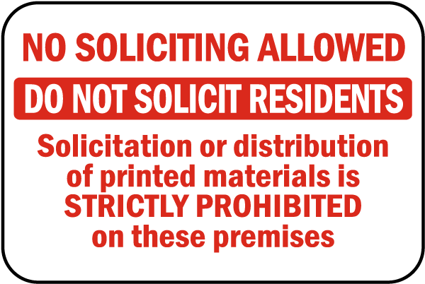 No Soliciting Residents Sign