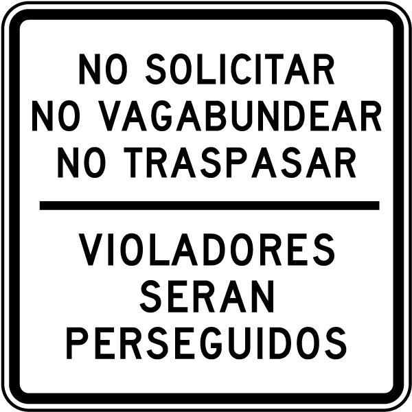 Spanish No Soliciting Sign