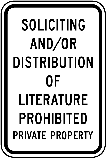 Soliciting Literature Prohibited Sign